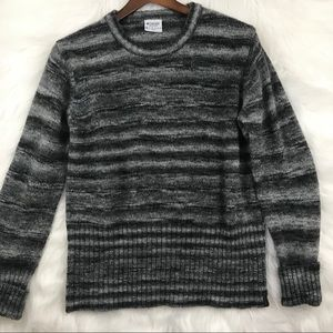 Columbia Gray and Black Stripey Wool Sweater